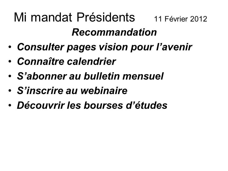 Mi mandat Présidents 11 Février 2012 Recommandation Consulter pages vision pour lavenir Connaître calendrier Sabonner au bulletin mensuel Sinscrire au webinaire Découvrir les bourses détudes