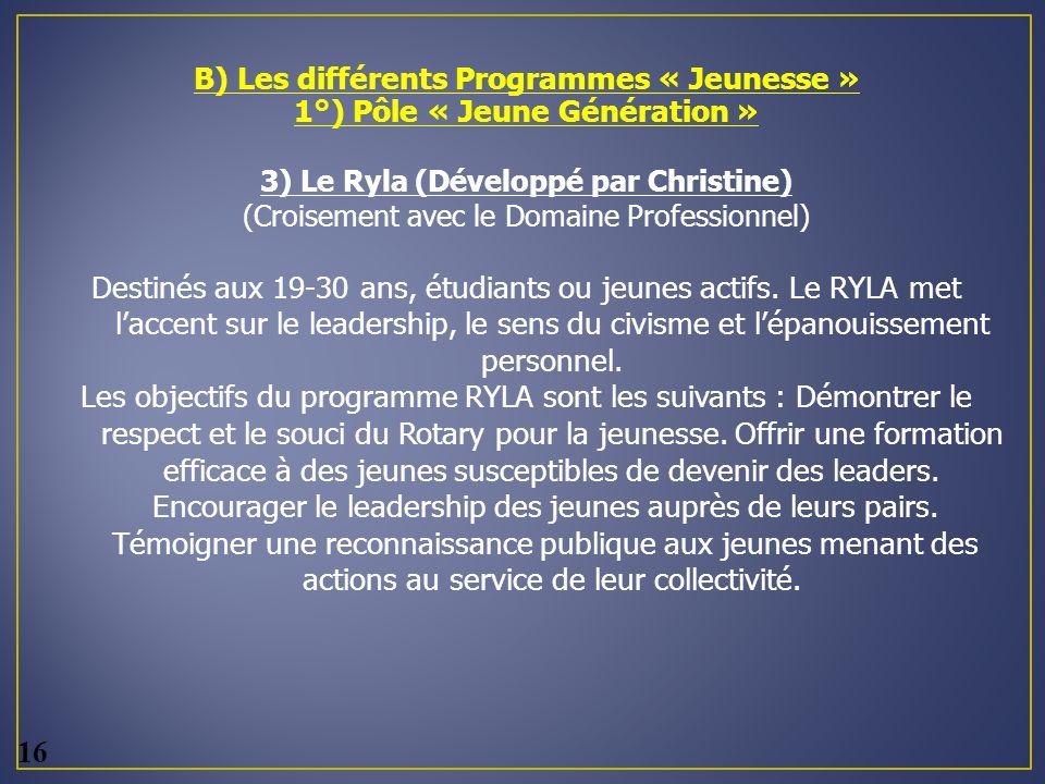 B) Les différents Programmes « Jeunesse » 1°) Pôle « Jeune Génération » 3) Le Ryla (Développé par Christine) (Croisement avec le Domaine Professionnel) Destinés aux 19-30 ans, étudiants ou jeunes actifs.