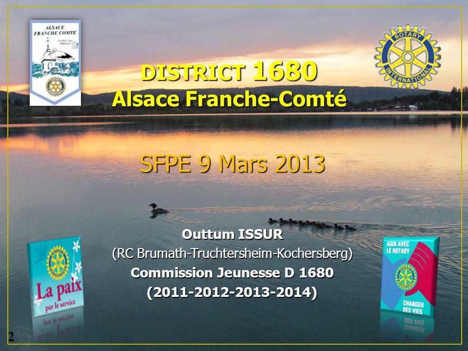 DISTRICT 1680 Alsace Franche-Comté SFPE 9 Mars 2013 Outtum ISSUR (RC Brumath-Truchtersheim-Kochersberg) Commission Jeunesse D 1680 (2011-2012-2013-2014) 2