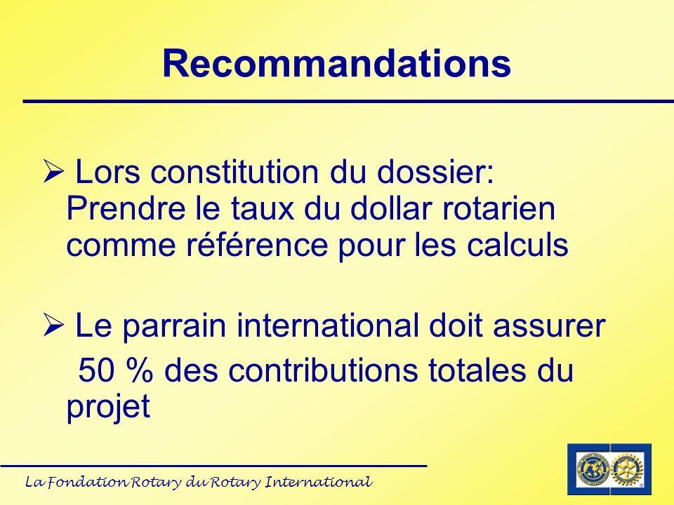 La Fondation Rotary du Rotary International Recommandations Lors constitution du dossier: Prendre le taux du dollar rotarien comme référence pour les