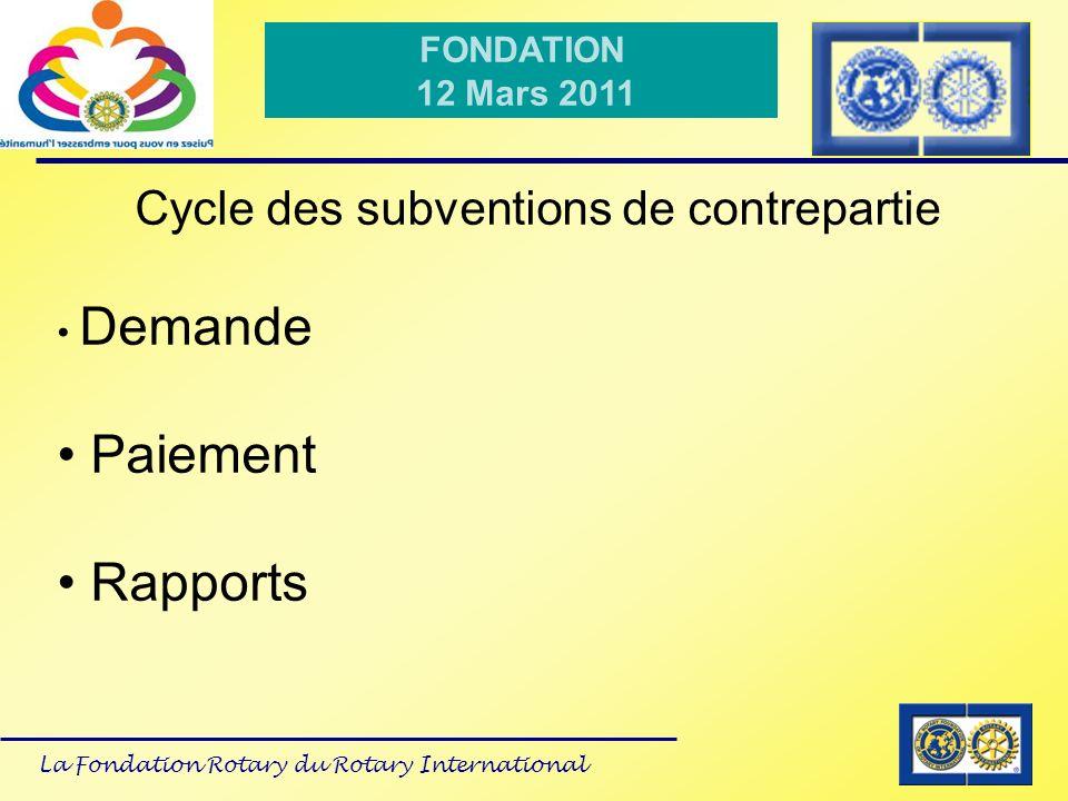 La Fondation Rotary du Rotary International FONDATION 12 Mars 2011 Cycle des subventions de contrepartie Demande Paiement Rapports