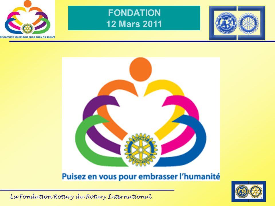 La Fondation Rotary du Rotary International FONDATION 12 Mars 2011 Glossaire programme Share Annual Giving : Contribution à la Fondation 50% revenant au District après 3 ans + 50 % allant au Fonds mondial Restricted Giving : Programmes de subvention de contre partie, polio plus, Permanent Fund : Donateurs, contributions jamais dépensées..