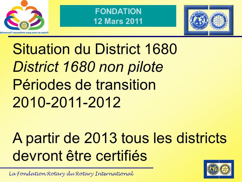 La Fondation Rotary du Rotary International FONDATION 12 Mars 2011 Plan vision pour lavenir: à compter de 2013 La commission Fondation naura plus que 3 sous commissions Collecte des Fonds Subventions Polio Plus