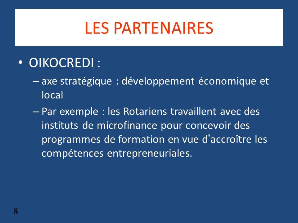 LES PARTENAIRES OIKOCREDI : – axe stratégique : développement économique et local – Par exemple : les Rotariens travaillent avec des instituts de microfinance pour concevoir des programmes de formation en vue daccroître les compétences entrepreneuriales.