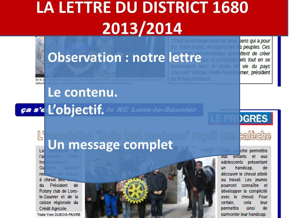 Observation : notre lettre Le contenu. Lobjectif.