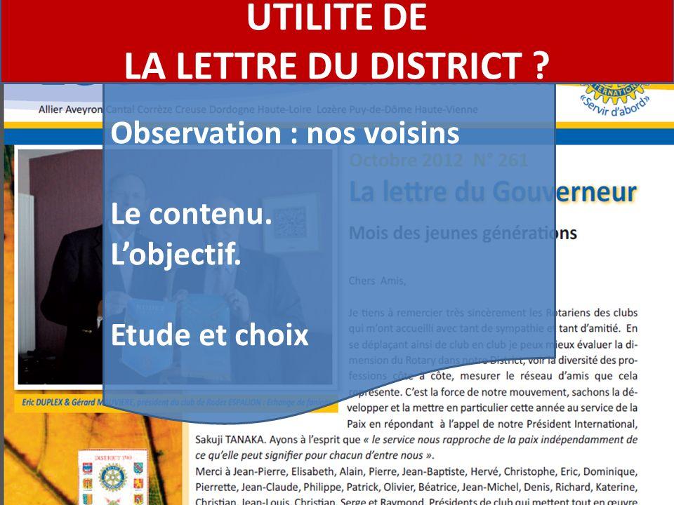 Observation : nos voisins Le contenu. Lobjectif. Etude et choix UTILITE DE LA LETTRE DU DISTRICT