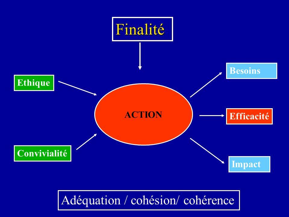 Finalité ACTION Efficacité Impact Besoins Ethique Convivialité Adéquation / cohésion/ cohérence