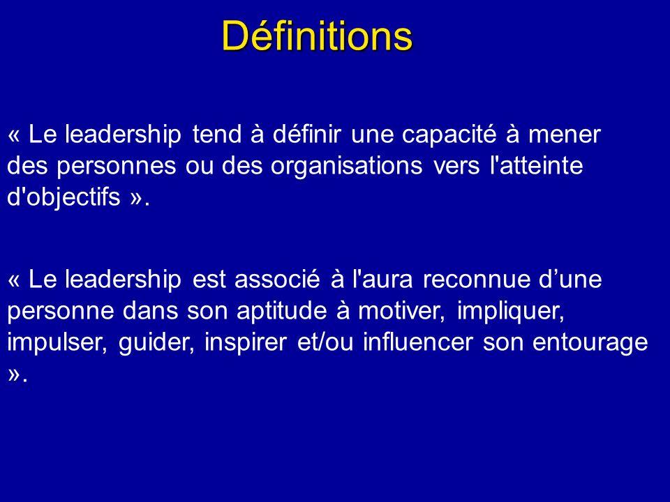 Définitions « Le leadership tend à définir une capacité à mener des personnes ou des organisations vers l'atteinte d'objectifs ». « Le leadership est