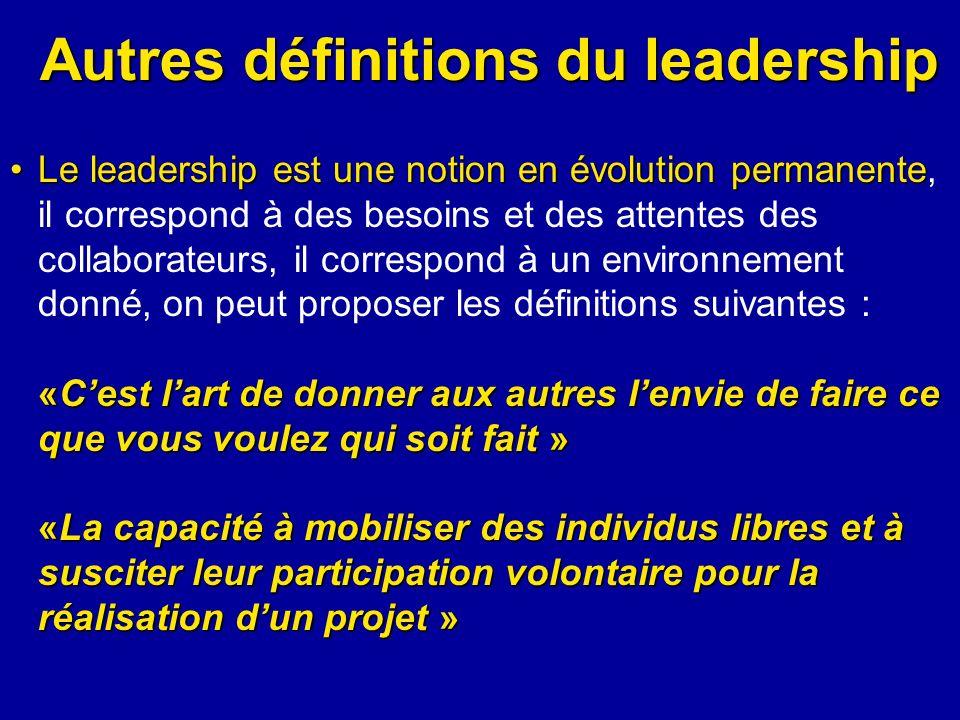 Autres définitions du leadership Le leadership est une notion en évolution permanenteLe leadership est une notion en évolution permanente, il correspo