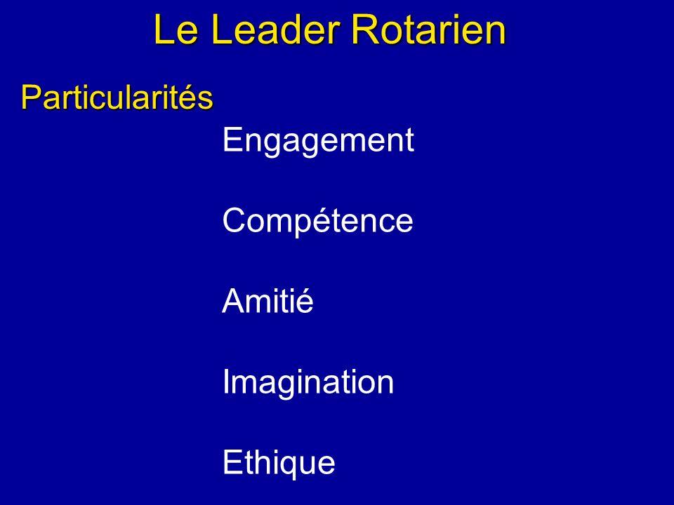 Le Leader Rotarien Engagement Compétence Amitié Imagination Ethique Particularités
