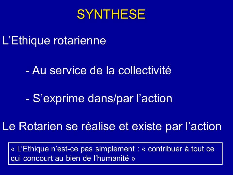 LEthique rotarienne - Au service de la collectivité - Sexprime dans/par laction Le Rotarien se réalise et existe par laction SYNTHESE « LEthique nest-