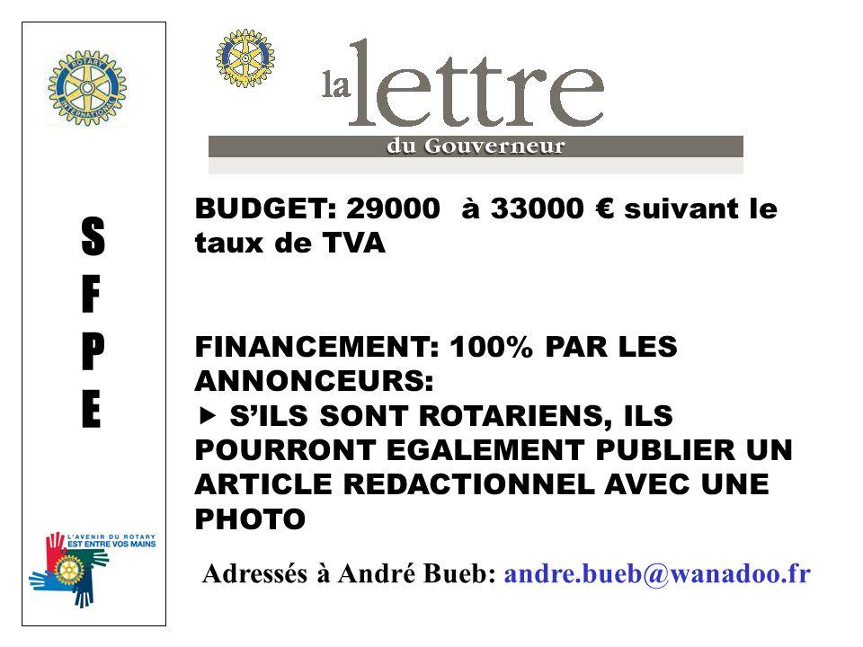 BUDGET: 29000 à 33000 suivant le taux de TVA FINANCEMENT: 100% PAR LES ANNONCEURS: SILS SONT ROTARIENS, ILS POURRONT EGALEMENT PUBLIER UN ARTICLE REDACTIONNEL AVEC UNE PHOTO SFPESFPE Adressés à André Bueb: andre.bueb@wanadoo.fr