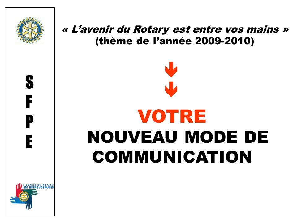 VOTRE NOUVEAU MODE DE COMMUNICATION SFPESFPE « Lavenir du Rotary est entre vos mains » (thème de lannée 2009-2010)