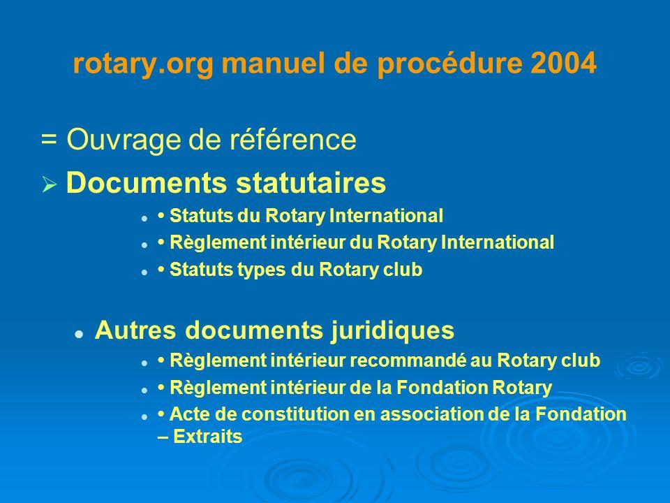 Manuel de procédure suite Table des matières Première partie – Administration 1 Le Rotary club...........................................................................................................