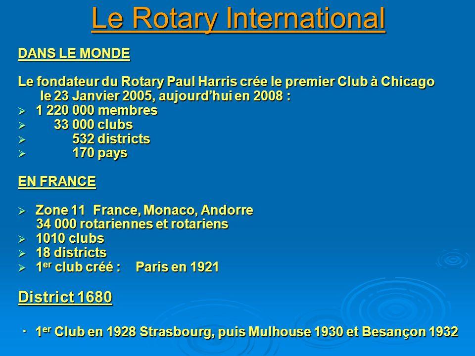 Le Rotary International DANS LE MONDE Le fondateur du Rotary Paul Harris crée le premier Club à Chicago le 23 Janvier 2005, aujourdhui en 2008 : le 23