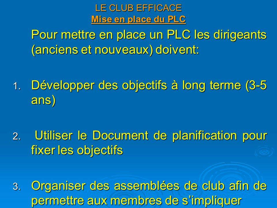 LE CLUB EFFICACE Mise en place du PLC (suite) 4.