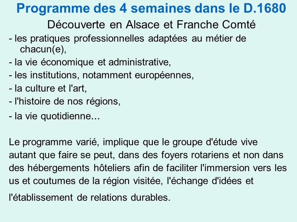 Programme des 4 semaines dans le D.1680 Découverte en Alsace et Franche Comté - les pratiques professionnelles adaptées au métier de chacun(e), - la vie économique et administrative, - les institutions, notamment européennes, - la culture et l art, - l histoire de nos régions, - la vie quotidienne...