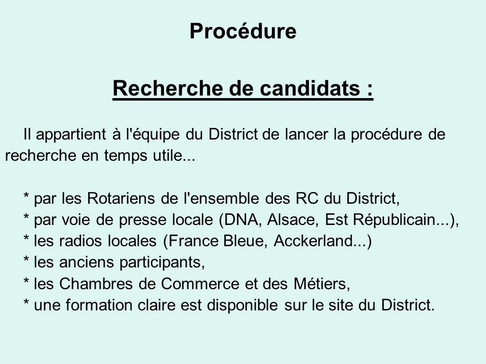 Procédure Recherche de candidats : Il appartient à l équipe du District de lancer la procédure de recherche en temps utile...