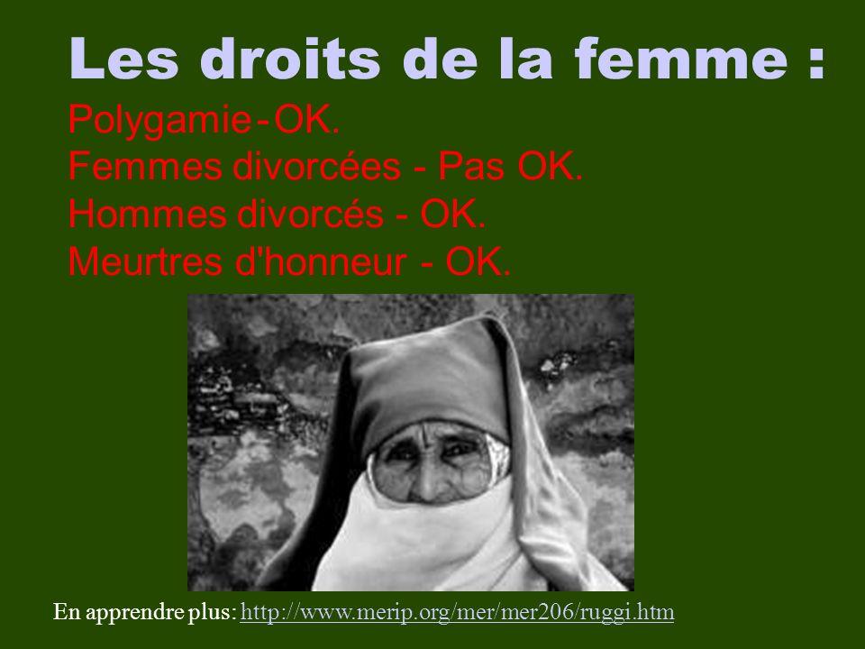 Les droits de la femme : Polygamie - OK. Femmes divorcées - Pas OK.