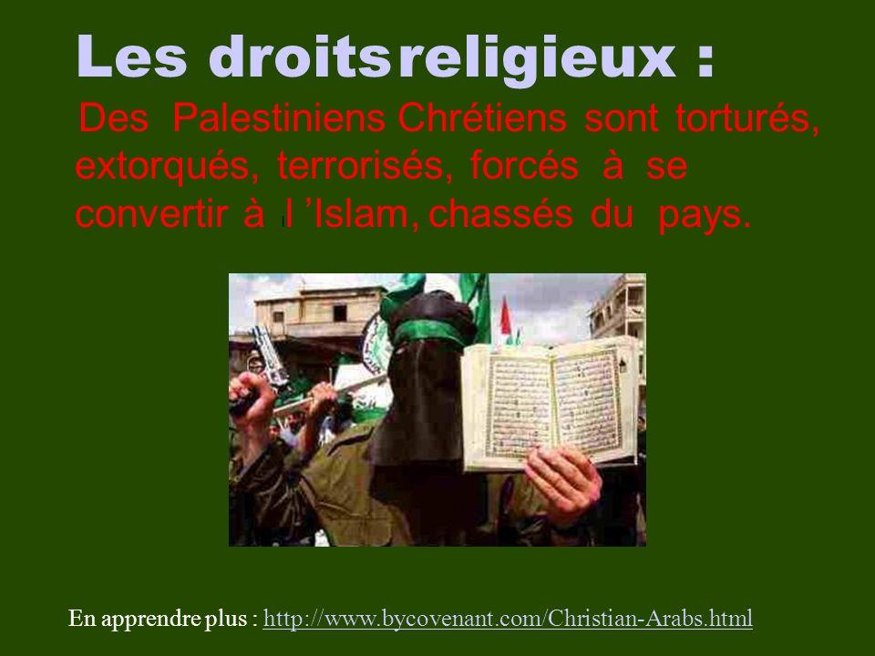 Les droits religieux : Des Palestiniens Chrétiens sont torturés, extorqués, terrorisés, forcés à se convertir à l l Islam, chassés du pays.