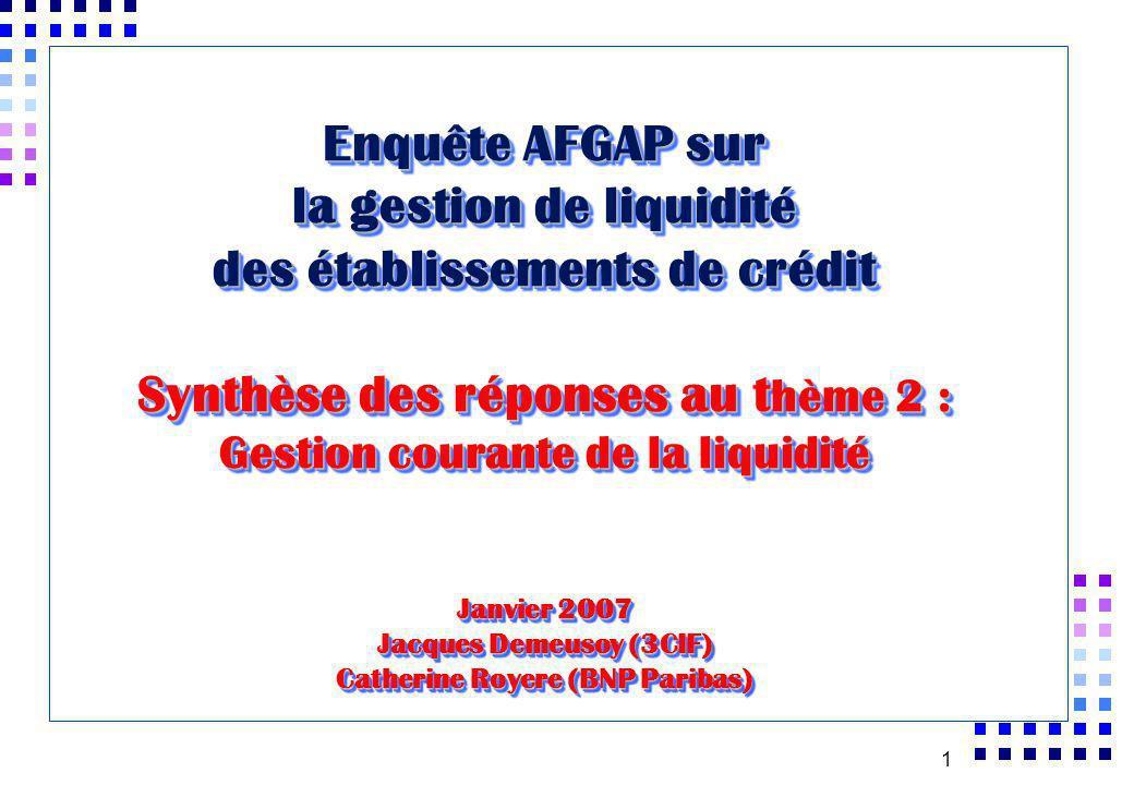 1 Enquête AFGAP sur la gestion de liquidité des établissements de crédit Synthèse des réponses au t hème 2 : Gestion courante de la liquidité Janvier 2007 Jacques Demeusoy (3CIF) Catherine Royere (BNP Paribas)