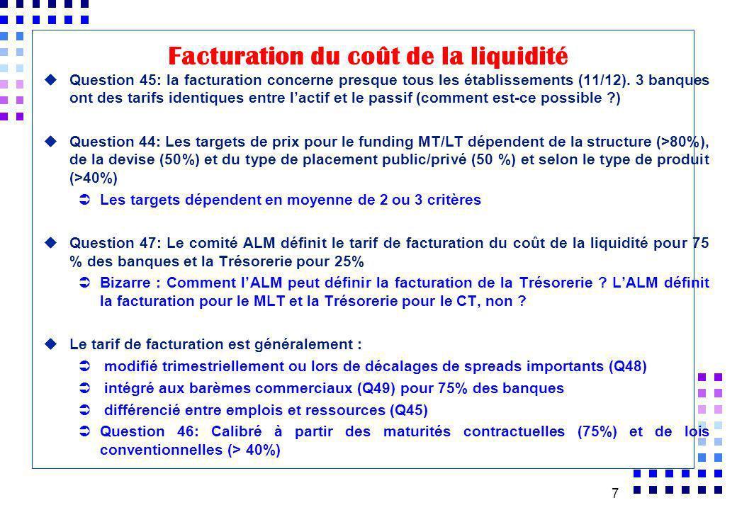 7 uQuestion 45: la facturation concerne presque tous les établissements (11/12). 3 banques ont des tarifs identiques entre lactif et le passif (commen
