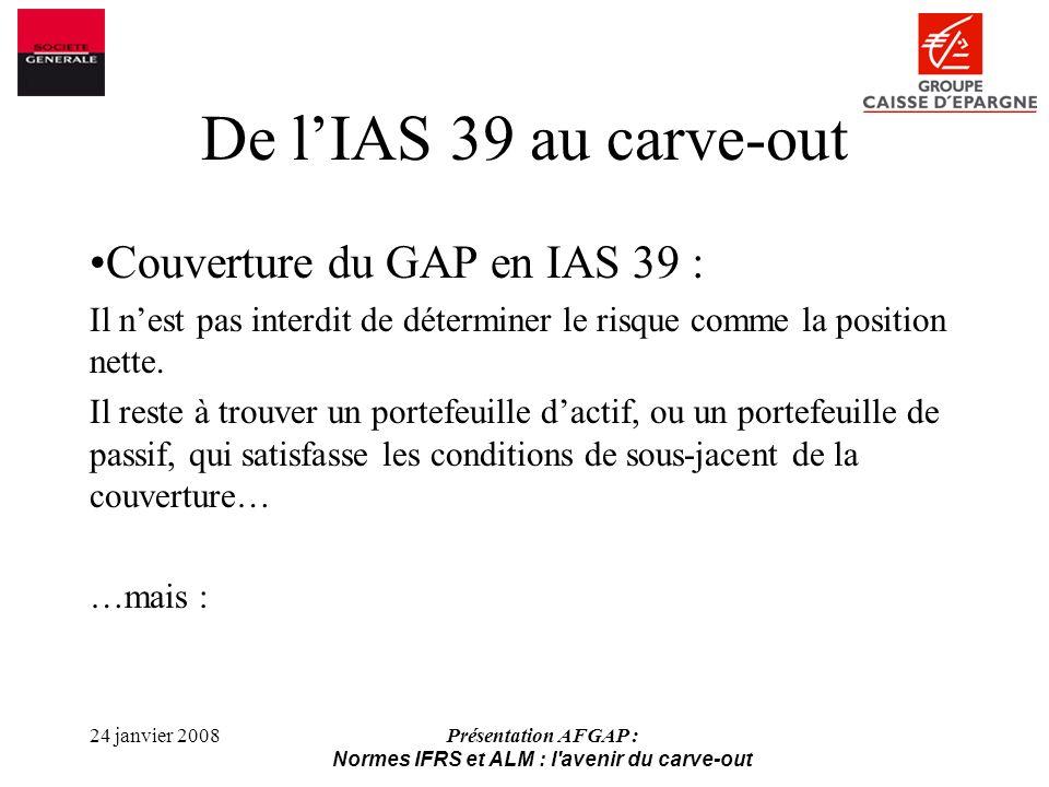 24 janvier 2008Présentation AFGAP : Normes IFRS et ALM : l avenir du carve-out De lIAS 39 au carve-out Couverture du GAP en IAS 39 : Il nest pas interdit de déterminer le risque comme la position nette.