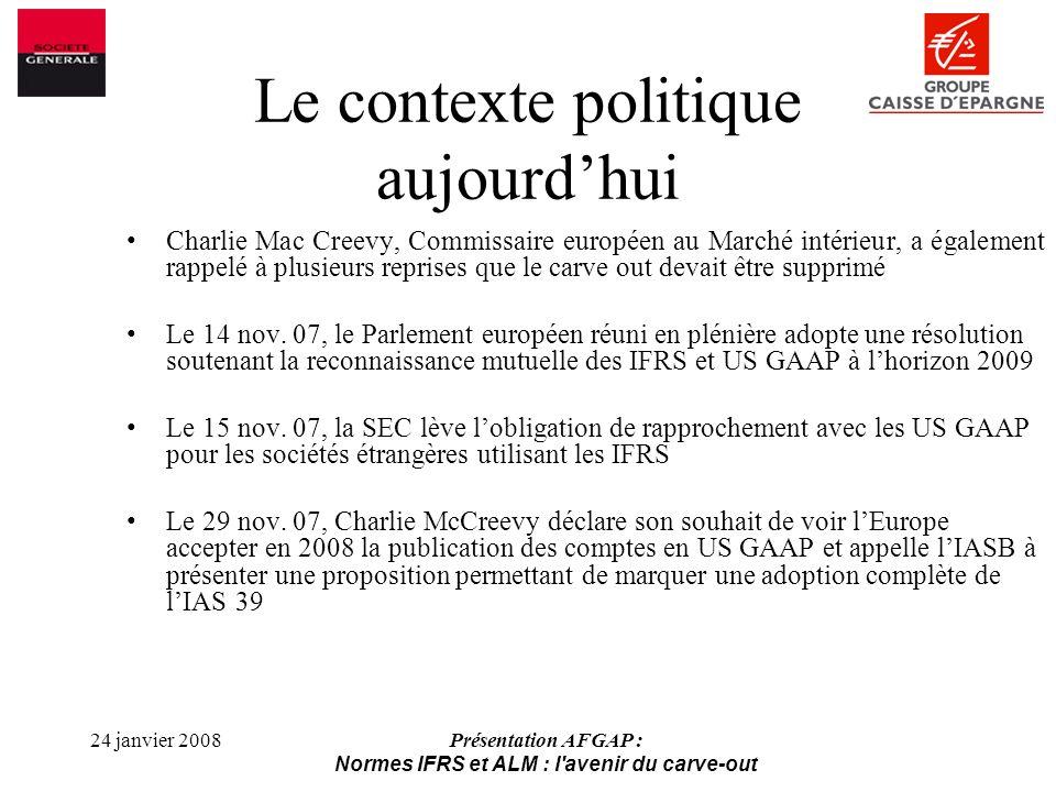 24 janvier 2008Présentation AFGAP : Normes IFRS et ALM : l avenir du carve-out Charlie Mac Creevy, Commissaire européen au Marché intérieur, a également rappelé à plusieurs reprises que le carve out devait être supprimé Le 14 nov.