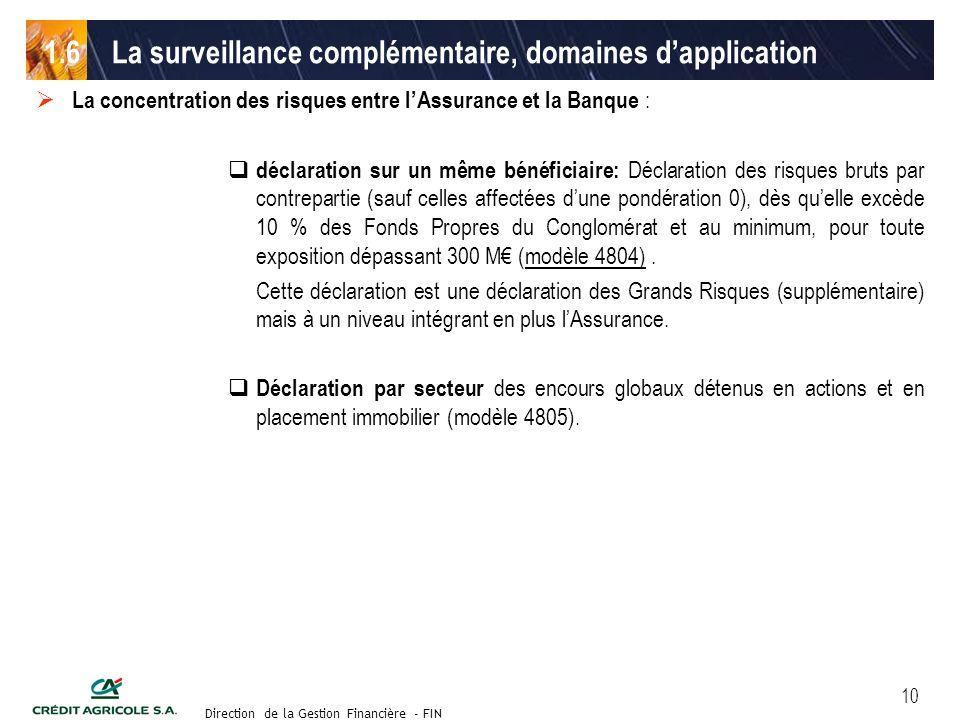 Groupe de travail des Directeurs Financiers du 11 septembre 2003 Direction de la Gestion Financière - FIN 10 La concentration des risques entre lAssur
