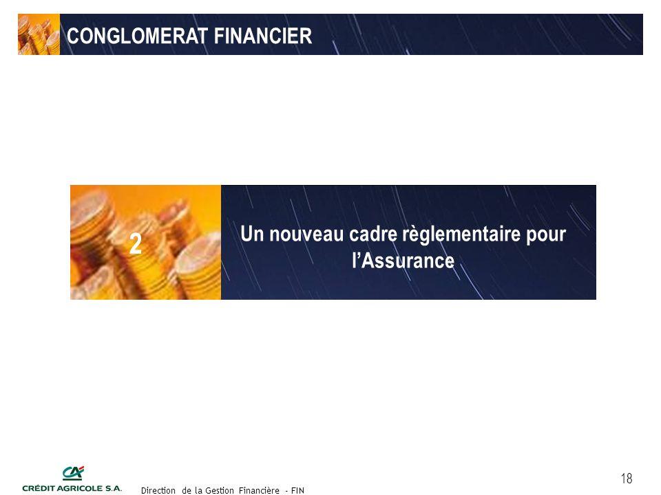 Groupe de travail des Directeurs Financiers du 11 septembre 2003 Direction de la Gestion Financière - FIN 18 CONGLOMERAT FINANCIER Un nouveau cadre règlementaire pour lAssurance 2