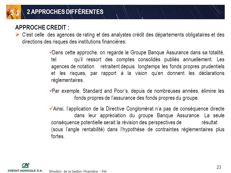 Groupe de travail des Directeurs Financiers du 11 septembre 2003 Direction de la Gestion Financière - FIN 23 2 APPROCHES DIFFÉRENTES APPROCHE CREDIT :