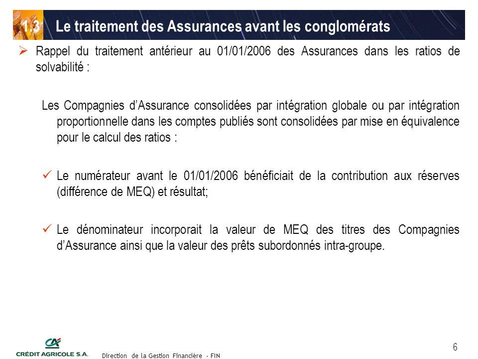 Groupe de travail des Directeurs Financiers du 11 septembre 2003 Direction de la Gestion Financière - FIN 6 Rappel du traitement antérieur au 01/01/20