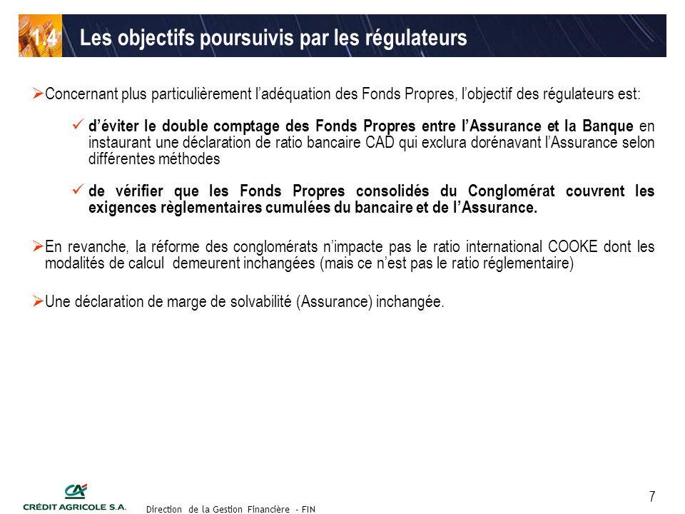 Groupe de travail des Directeurs Financiers du 11 septembre 2003 Direction de la Gestion Financière - FIN 8 lobjectif de la réforme des Conglomérats Financiers est de corriger le système qui permet une double utilisation des Fonds Propres dans le calcul des ratios.