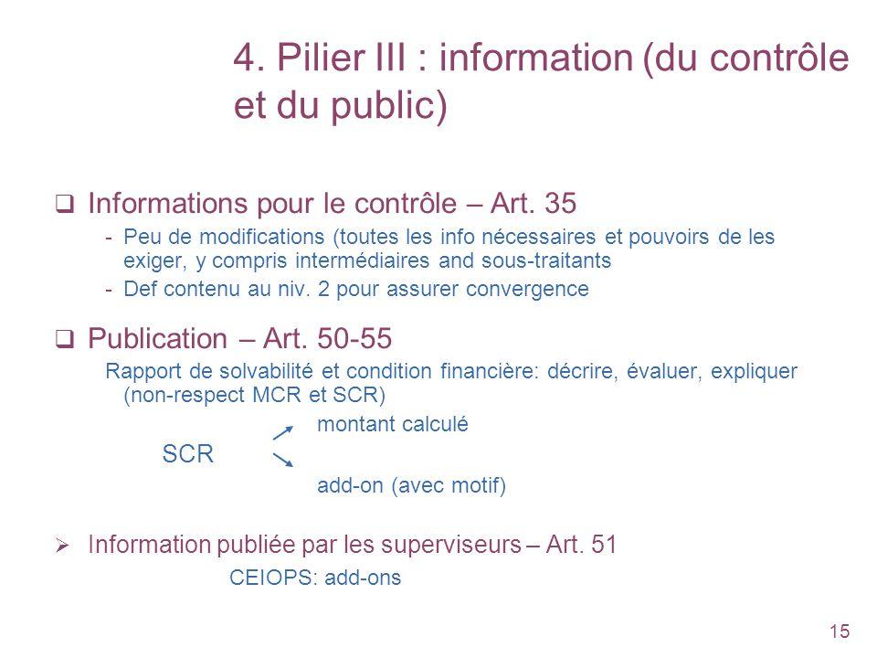 15 4. Pilier III : information (du contrôle et du public) Informations pour le contrôle – Art. 35 -Peu de modifications (toutes les info nécessaires e