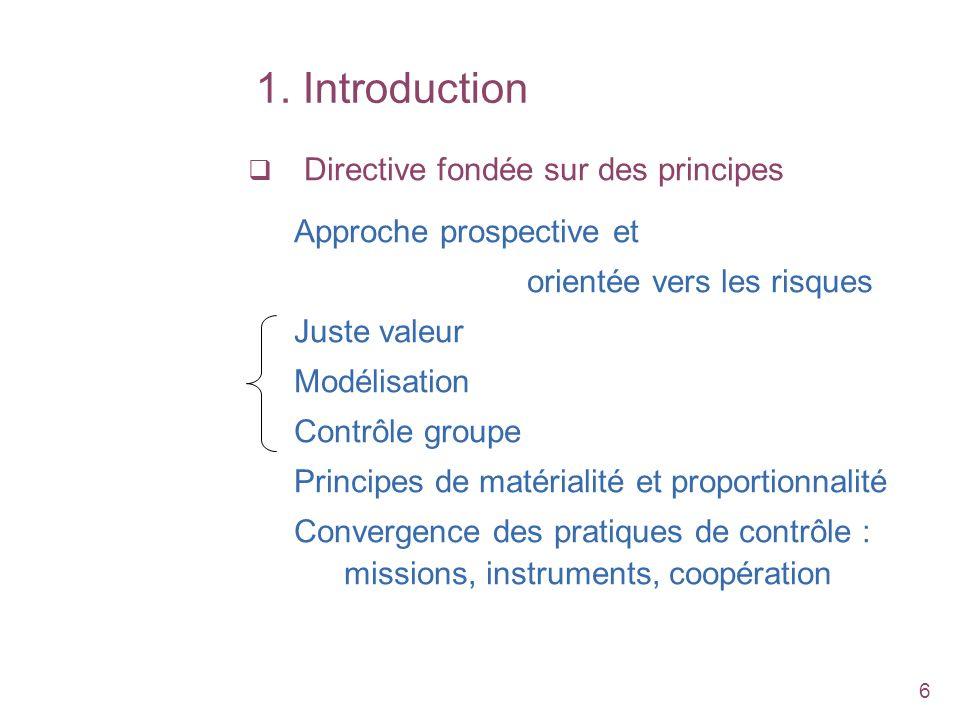 6 Directive fondée sur des principes Approche prospective et orientée vers les risques Juste valeur Modélisation Contrôle groupe Principes de matérial
