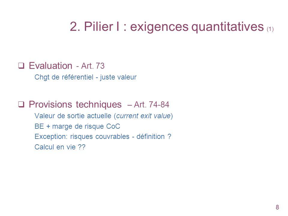 8 2. Pilier I : exigences quantitatives (1) Evaluation - Art. 73 Chgt de référentiel - juste valeur Provisions techniques – Art. 74-84 Valeur de sorti