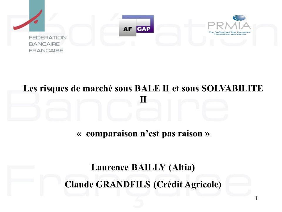 1 Les risques de marché sous BALE II et sous SOLVABILITE II « comparaison nest pas raison » Laurence BAILLY (Altia) Claude GRANDFILS (Crédit Agricole)