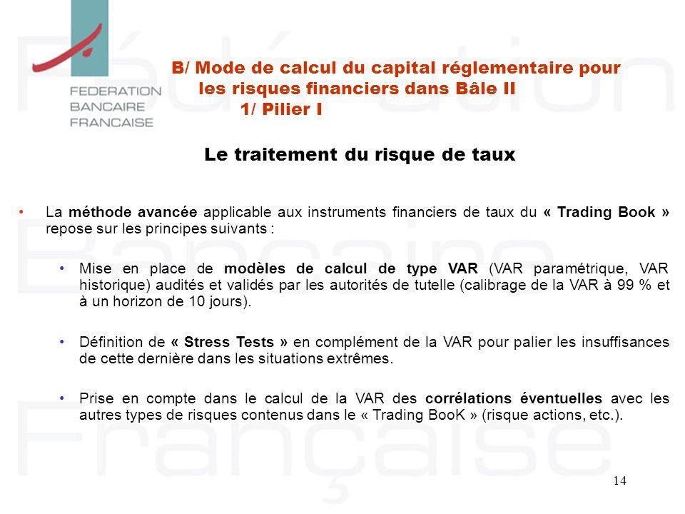 14 Le traitement du risque de taux La méthode avancée applicable aux instruments financiers de taux du « Trading Book » repose sur les principes suiva