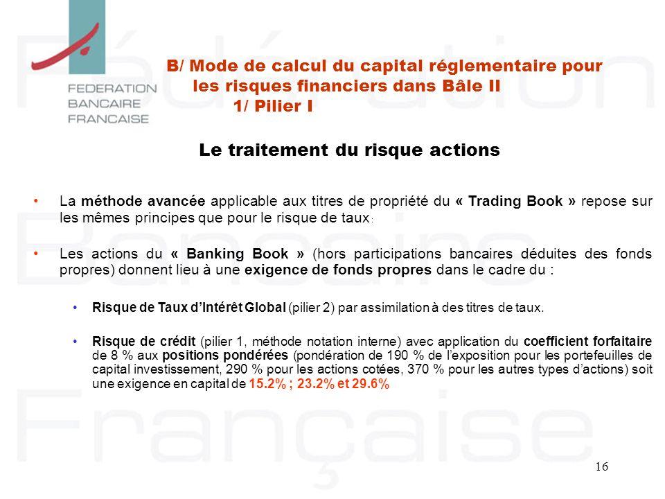 16 Le traitement du risque actions La méthode avancée applicable aux titres de propriété du « Trading Book » repose sur les mêmes principes que pour l