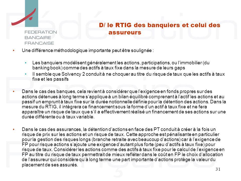 31 Une différence méthodologique importante peut être soulignée : Les banquiers modélisent généralement les actions, participations, ou limmobilier (d