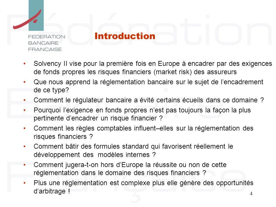 4 Solvency II vise pour la première fois en Europe à encadrer par des exigences de fonds propres les risques financiers (market risk) des assureurs Qu
