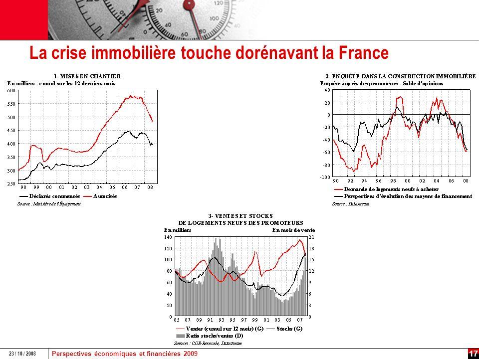 Perspectives économiques et financières 2009 23 / 10 / 2008 16 La crise immobilière sest amorcée dès le début 2006 aux États-Unis, elle est plus tardive en Europe