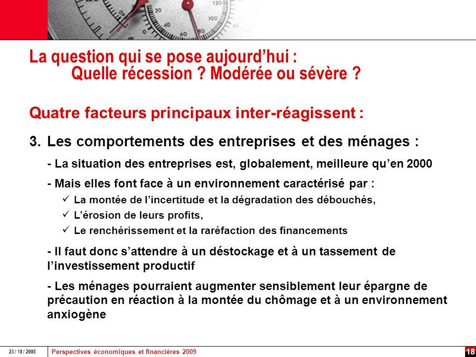 Perspectives économiques et financières 2009 23 / 10 / 2008 17 La crise immobilière touche dorénavant la France