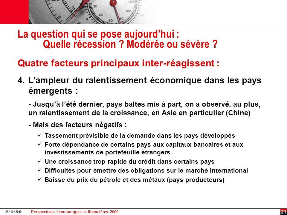 Perspectives économiques et financières 2009 23 / 10 / 2008 20