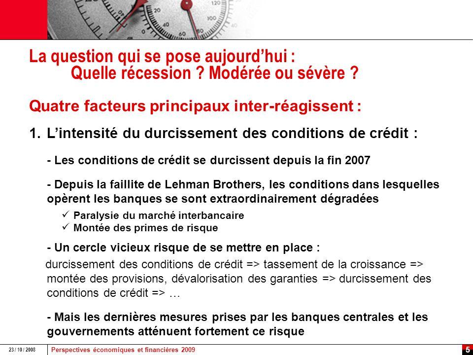 Perspectives économiques et financières 2009 23 / 10 / 2008 4 Le deleveraging : un processus toujours long et coûteux