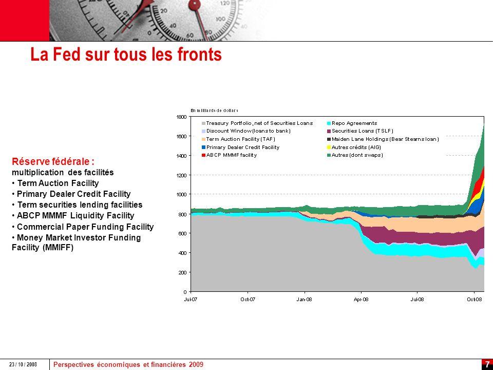 Perspectives économiques et financières 2009 23 / 10 / 2008 6 Amorce de détente des conditions de financement des banques et activisme des banques centrales