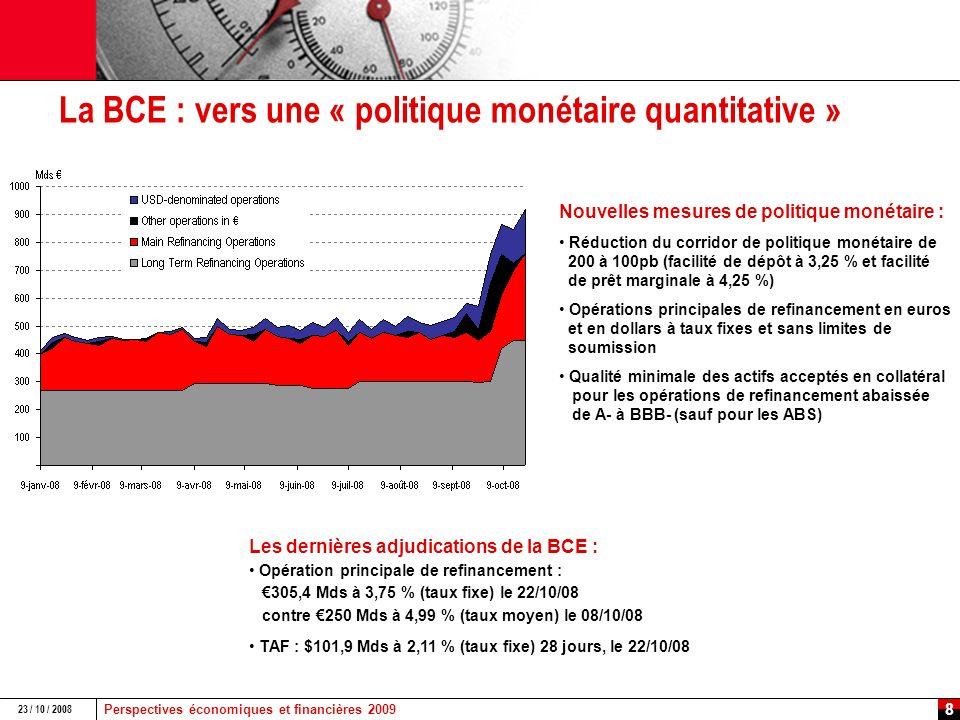 Perspectives économiques et financières 2009 23 / 10 / 2008 7 La Fed sur tous les fronts Réserve fédérale : multiplication des facilités Term Auction