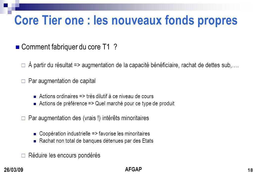 AFGAP 18 26/03/09 Core Tier one : les nouveaux fonds propres Comment fabriquer du core T1 .