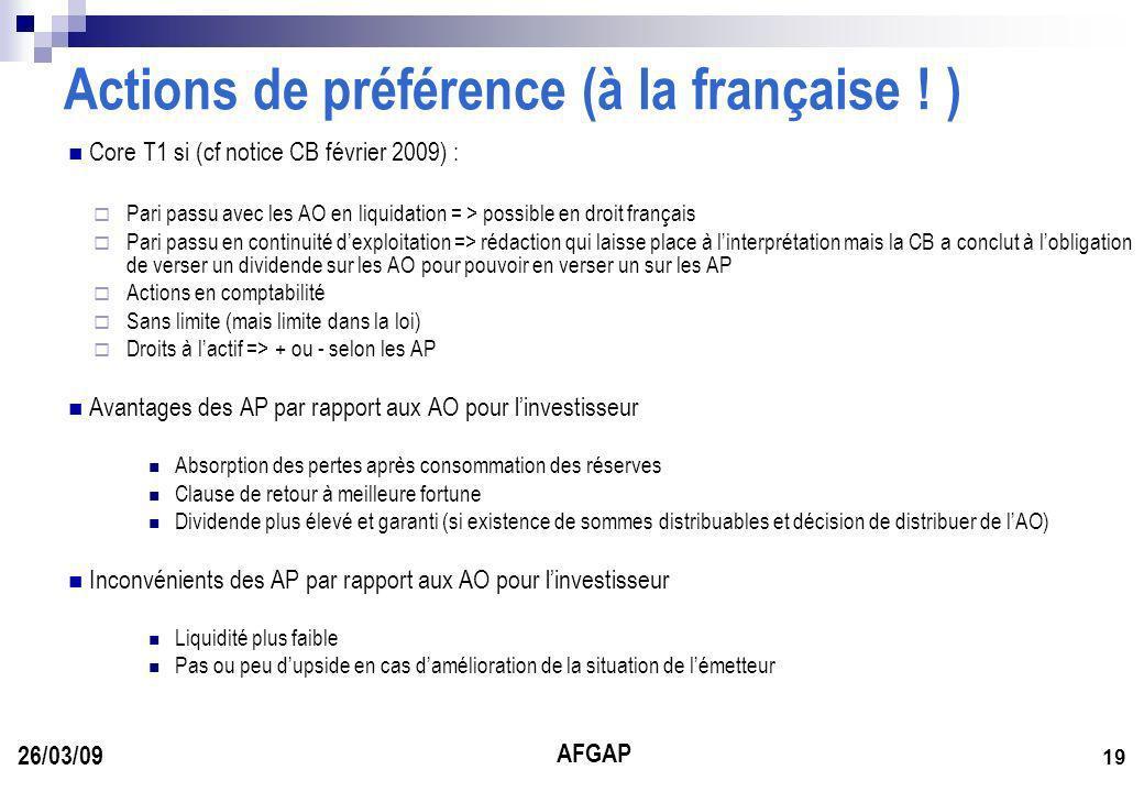 AFGAP 19 26/03/09 Actions de préférence (à la française .