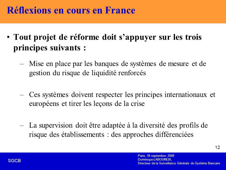 Paris, 18 septembre 2008 Dominique LABOUREIX, Directeur de la Surveillance Générale du Système Bancaire SGCB 12 Réflexions en cours en France Tout pro